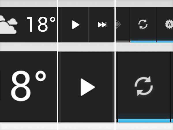 Android widgets: power control, music and weather
